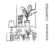 drawer with houseplants and lamp   Shutterstock .eps vector #1128499820