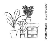 drawer with houseplants icons   Shutterstock .eps vector #1128499829