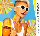happy smoothie girl.  colorful... | Shutterstock . vector #1128504503