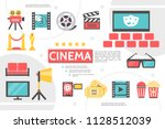 flat cinematography infographic ... | Shutterstock .eps vector #1128512039