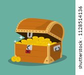treasure chest with golden... | Shutterstock .eps vector #1128514136
