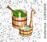bathing goods. a wooden barrel...   Shutterstock .eps vector #1128518630