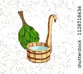 bathing goods. a wooden barrel...   Shutterstock .eps vector #1128518636