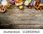 oktoberfest food menu  bavarian ... | Shutterstock . vector #1128520463