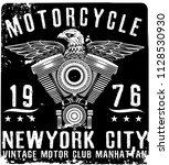 vintage motorcycle t shirt... | Shutterstock . vector #1128530930
