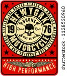 motorcycle label t shirt design ... | Shutterstock . vector #1128530960
