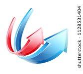 arrows red blue up veer soar...   Shutterstock .eps vector #1128531404