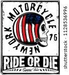 skull t shirt motorcycle... | Shutterstock . vector #1128536996