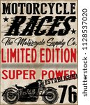 vintage motorcycle t shirt... | Shutterstock . vector #1128537020