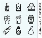 food related set of 9 icons... | Shutterstock . vector #1128539360