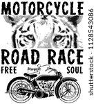 motorcycle animal tee graphic... | Shutterstock . vector #1128543086
