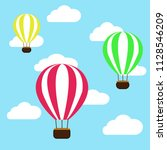 hot air balloon in the clouds... | Shutterstock .eps vector #1128546209