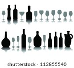 wine glass and bottle... | Shutterstock .eps vector #112855540