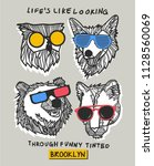 cool bear  owl and wolf vector... | Shutterstock .eps vector #1128560069