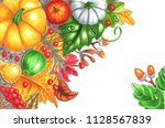 autumn harvest with leaves ... | Shutterstock . vector #1128567839
