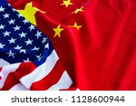 american flag and china flag... | Shutterstock . vector #1128600944