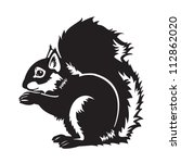 sitting squirrel black and... | Shutterstock .eps vector #112862020