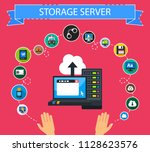 storage server flat icons... | Shutterstock .eps vector #1128623576