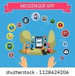 messenger app flat icons... | Shutterstock .eps vector #1128624206