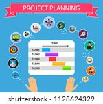 project planning flat icons...   Shutterstock .eps vector #1128624329