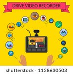 drive video recorder flat icons ...   Shutterstock .eps vector #1128630503