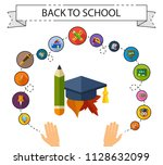 back to school flat icons... | Shutterstock .eps vector #1128632099