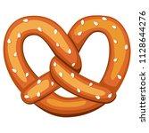 colorful cartoon pretzel with... | Shutterstock .eps vector #1128644276