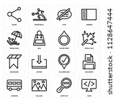 set of 16 icons such as code ...