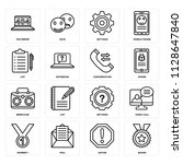 set of 16 icons such as badge ...