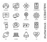 set of 16 icons such as like ...