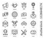 set of 16 icons such as review  ...