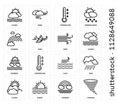 set of 16 icons such as tornado ...