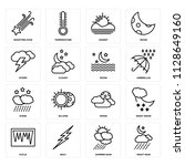 set of 16 icons such as night...