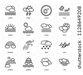 set of 16 icons such as tide ...