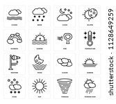 set of 16 icons such as morning ...