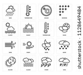 set of 16 icons such as rain ...