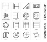 set of 16 icons such as cut ...