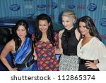 "Small photo of LOS ANGELES, CA - MARCH 5, 2009: ""Glee"" stars Jenna Ushkowitz (left), Naya Ravera, Dianne Agron & Lea Michele at the American Idol Final 13 Party at Area Nightclub, West Hollywood."