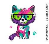colorful pop art illustration...   Shutterstock .eps vector #1128654284