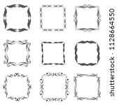 set of vector vintage frames on ... | Shutterstock .eps vector #1128664550