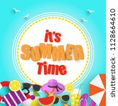 summer sale promo web banner.... | Shutterstock .eps vector #1128664610