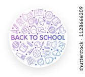 back to school background with... | Shutterstock . vector #1128666209