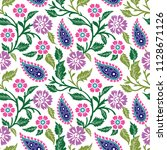 seamless paisley with flower... | Shutterstock .eps vector #1128671126