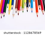 group of color pencils isolated ... | Shutterstock . vector #1128678569