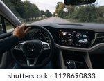 Man Is Driving Modern Suv Car...
