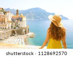 summer holiday in italy. back... | Shutterstock . vector #1128692570