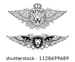 winged roaring lion head on... | Shutterstock .eps vector #1128699689