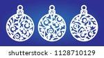 laser cut template of christmas ... | Shutterstock .eps vector #1128710129