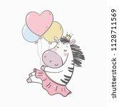 cute zebra baby. baby shower... | Shutterstock .eps vector #1128711569