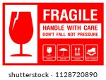 packaging label   fragile  just ... | Shutterstock .eps vector #1128720890